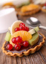 Chocolate and fruit tart Stock Photos