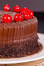 Chocolate Fudge Cake with Cherries Royalty Free Stock Photo