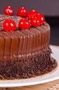 Chocolate Fudge Cake with Cherries Royalty Free Stock Photo