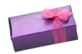 Chocolate gift box with pink ribbon on white Royalty Free Stock Photos