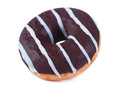 Chocolate glazed doughnut closeup isolated on white Royalty Free Stock Image
