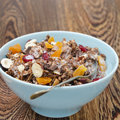 Chocolate granola nuts dried fruit yogurt closeup Stock Photography