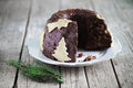 Chocolate gugelhupf cake with marzipan christmas tree dessert ganache Royalty Free Stock Images