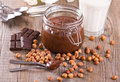 Chocolate hazelnut spread. Stock Photo