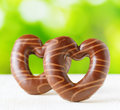 Chocolate hearts on nature backgroud valentine s concept Royalty Free Stock Image
