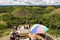 Chocolate hills of bohol carmen island philippines may tourists view the grass covered karst limestone geological formations in an Stock Photo