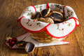 Chocolate homemade pastry cookies on wooden table Stock Image