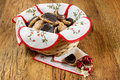 Chocolate homemade pastry cookies on wooden table Stock Photography