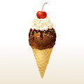 Chocolate ice cream cone eps this illustration contains transparency Royalty Free Stock Images