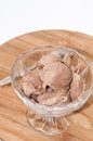 Chocolate ice cream in a crystal bowl Royalty Free Stock Photo