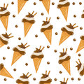 Chocolate ice cream seamless texture. ice cream cone background. Baby, Kids wallpaper and textiles. Vector illustration; Royalty Free Stock Photo