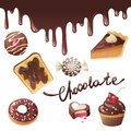 Chocolate icons over white background Stock Images