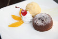 Chocolate Lava Cake with ice cream Stock Photography