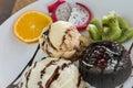 chocolate lava cake set served with ice cream vanila,wiped Royalty Free Stock Photo