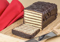 Chocolate layer cake a homemade Royalty Free Stock Photo