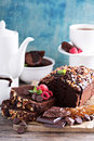 Chocolate loaf cake with nuts Royalty Free Stock Photo