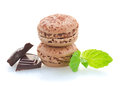 Chocolate macaroons with choco bars isolated on white background Royalty Free Stock Images