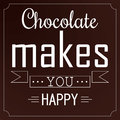 Chocolate makes you happy banner design for promote your choco items Royalty Free Stock Photos