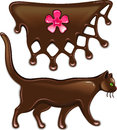 Chocolate marmalade flower decor and cat Stock Photography