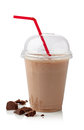 Chocolate milkshake glass of isolated on white background Royalty Free Stock Photo