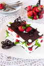 Chocolate mille feuille with strawberries millefeuille and cream Royalty Free Stock Photography
