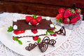 Chocolate mille feuille with strawberries millefeuille and cream Stock Image