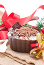 Chocolate moose dessert decorating with accessories celebration concept Royalty Free Stock Photography