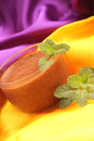 Chocolate mousse decorate with fresh mint Stock Images