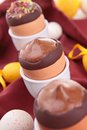 Chocolate mousse in egg cup Royalty Free Stock Images