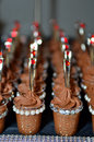 Chocolate mousse little shot glasses filled with for a christmas party Royalty Free Stock Image