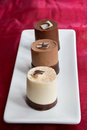 Chocolate Mousse Trio Royalty Free Stock Images