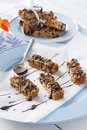 Chocolate muesli bars fresh baked with melted drizzled over the top Royalty Free Stock Images
