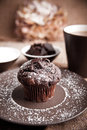 Chocolate muffin with cup of coffee picture a Stock Photos