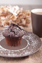 Chocolate muffin with cup of tea picture a Stock Photo
