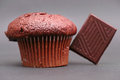 Chocolate muffin on a nice grey background with a piece of leaning on it focus is on the front of the top Stock Image