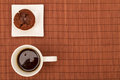 Chocolate muffins with a cup of coffee on white plate Royalty Free Stock Image