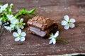 Chocolate nut brownie cake Royalty Free Stock Photo