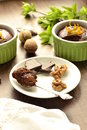 Chocolate and nut pudding selective focus vertical Royalty Free Stock Photography