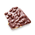 Chocolate with nuts dark bar almond isolated on white background clipping path included Stock Photo