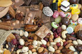 Chocolate nuts dried fruits and candy Stock Photography
