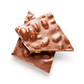 Chocolate with nuts milk pieces almond isolated on white background clipping path included Stock Photos