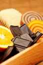 Chocolate and orange soaps Royalty Free Stock Photography