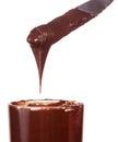Chocolate paste on knife isolated on white background Stock Photo