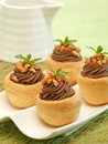 Chocolate pastry delicious with peanut toping Stock Image