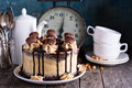 Chocolate peanut butter cake with frosting Royalty Free Stock Photo