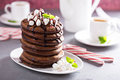 Chocolate peppermint pancakes for Christmas morning Royalty Free Stock Photo