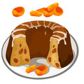 Chocolate pie with dried apricots. Vector desserts