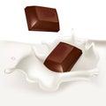 Chocolate pieces falling in cream splash Royalty Free Stock Photo
