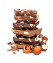 Chocolate pieces isolated on white background