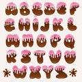 Chocolate pink alphabet Stock Photo